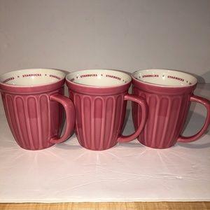 Starbucks 2006 16oz Pink grooved mugs (3) w